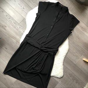 Black BCBGMaxAzria Drop Waist Shirt Dress Small